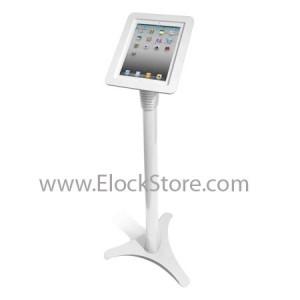 Pied borne iPad 1 2 3 4 5 Air Air2 - Ajustable et Coque Alu Blanc - Maclocks 147W213EXENW