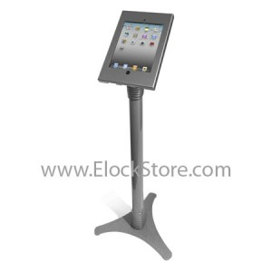 Stand iPad 2 3 4 Retina - Ajustable et Kiosque Argent - Cache bouton home amovible - Maclocks