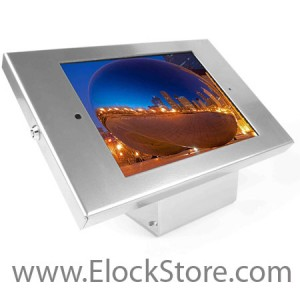 Kiosque Alu iPad 2 3 4 Air Air2 - Argent - avec support fixe - Maclocks 101S202ENS