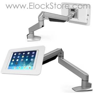 Bras télescopique tablette 10 pouces et coque antivol Rokku blanc 660REACH260ROKW