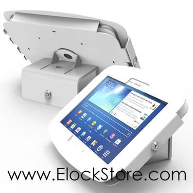 kiosque coque iPad galaxy surface sur support basculant rotatif Maclocks compulocks elockstore surfaceenclosure galaxyenclosure ipadenclosure bouncepad