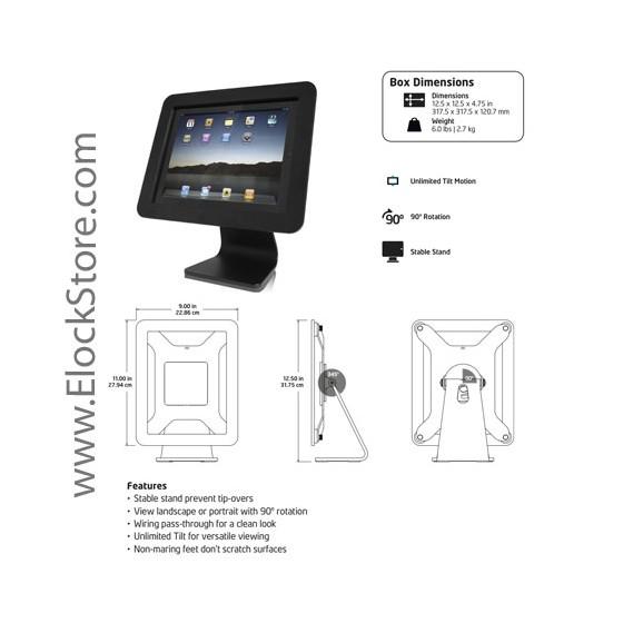 Stand iPad 1 2 3 4 Air Air2 Rotatif 360 Aluminium Blanc - Compulocks Maclocks OIA-W - ElockStore REF00259 2