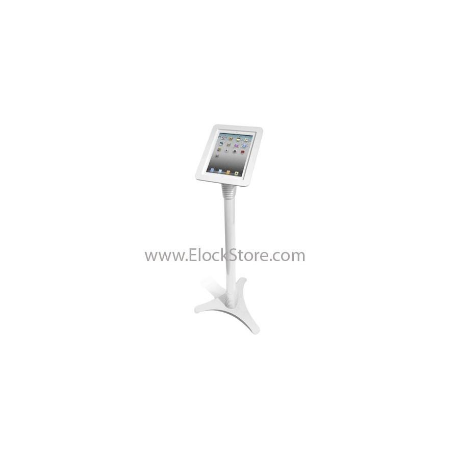 Pied borne iPad 1 2 3 4 5 Air - Ajustable et Coque Alu Blanc - Maclocks