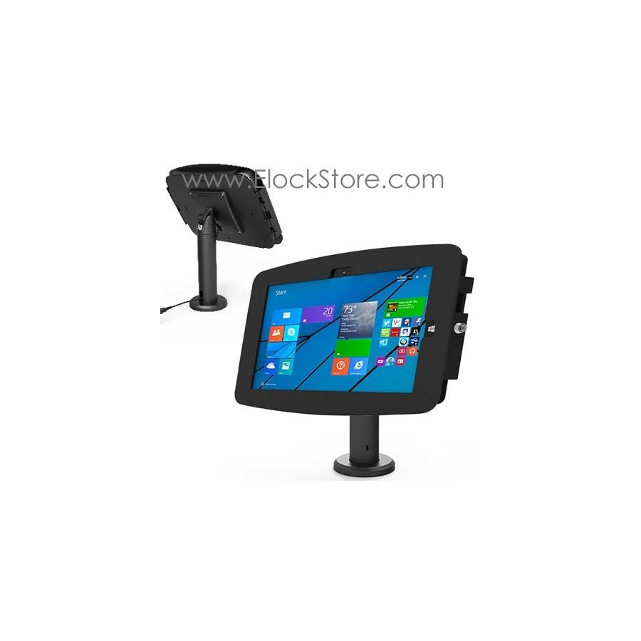 Coque antivol Surface pro 4 et Pied passe cable rotatif - Kiosk Space Rise - Noir - Maclocks TCDP01530GEB ElockStore REF00477