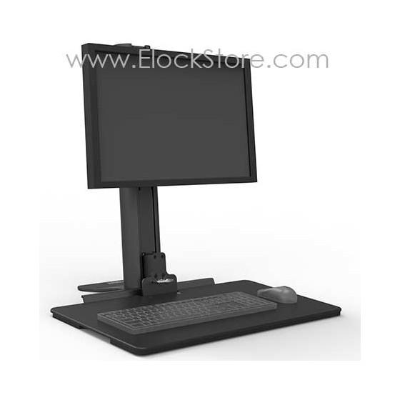 Poste de travail assis-debout de bureau pour moniteur unique - Compulocks 330RWRKST