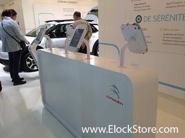 Citroen - Pied pole et kiosque space pour iPad Air Maclocks ElockStore