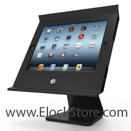 kiosque pos iPad galaxy surface sur pied rotatif et basculant Maclocks compulocks elockstore surfaceenclosure galaxyenclosure ipadenclosure bouncepad