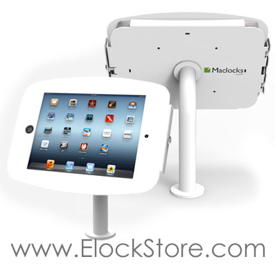 Kiosque coque antivol Alu iPad galaxy surface sur pied pole Maclocks compulocks elockstore surfaceenclosure galaxyenclosure ipadenclosure bouncepad