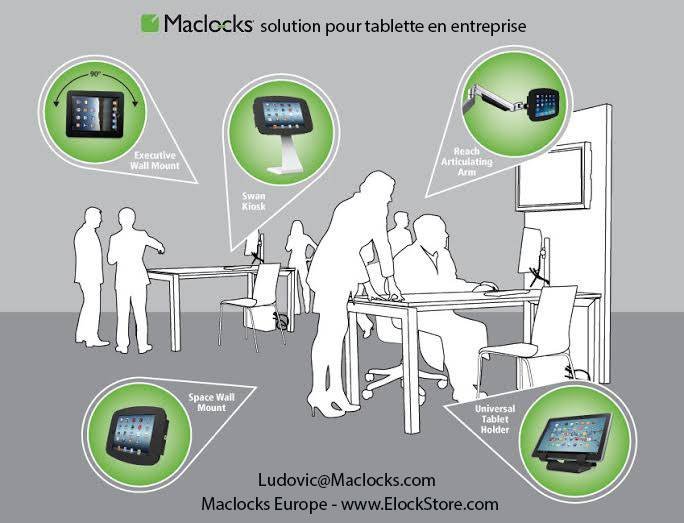 Solution pour tablette ipad galaxy surface en entreprise Maclocks Elockstore compulocks galaxyenclosure surfaceenclosure